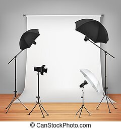 Photo studio design concept set with lamps and camera on tripods vector illustration