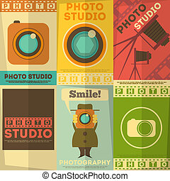 Photo Studio Poster. Set of Photographic Placards in Flat Design Retro Style. Vector Illustration.