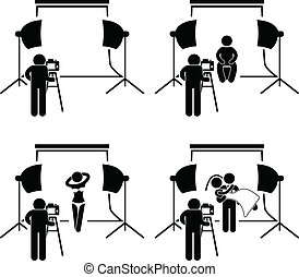 This is a set of people pictograms that represent photographer taking pictures of a man, female model, and wedding couple in a studio.