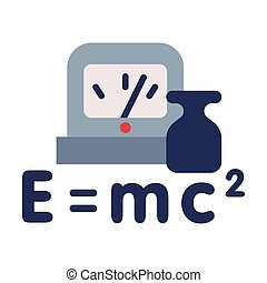 Physics Lesson Symbols, Equivalence of Mass and Energy Formula, Education, Schooling and Learning Elements, Back to School Concept Flat Style Vector Illustration Isolated on White Background.