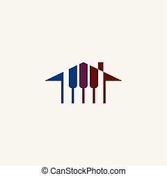 piano house logo music school icon vector