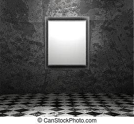 picture frame in grunge empty interior