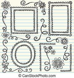Stock Vector Illustration: Frames and Borders Hand-Drawn Sketchy Scalloped Notebook Doodles Ornamental Set- Vector Illustration Design Elements on Lined Sketchbook Paper Background
