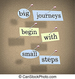 Pieces of paper each containing a word pinned to a cork board reading Big Journeys Begin With Small Steps