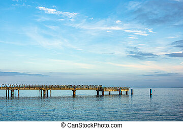 Pier in Sassnitz on the island Ruegen, Germany