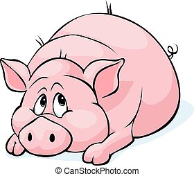 pig cartoon laying isolated on white background - vector illustration