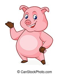 Pig cartoon presenting isolated in white background