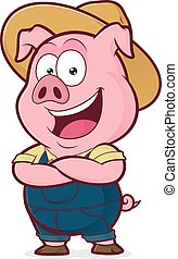 Clipart picture of a pig farmer cartoon character folded hands