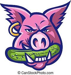 pig-head-biting-pickle-MASCOT