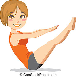 Cute and slim brunette woman with short hair exercising pilates stretching workout
