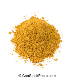 pile of bright curry powder isolated on white background