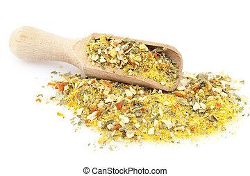 pile of mixed seasoning on white background