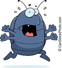 A cartoon pill bug running in a panic.