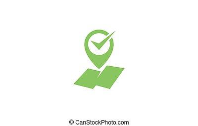 pin maps location check mark green logo vector icon design