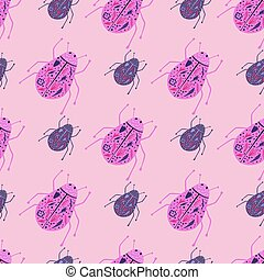 Pink and purple colored bugs seamless pattern. Doodle insects folk print on ligh pink background. Exotic backdrop.