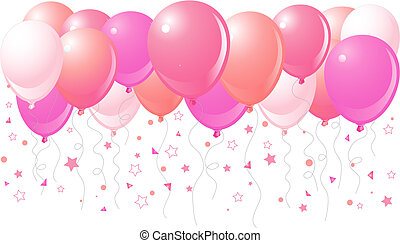 Vector illustration of the bunch of pink balloons flying up
