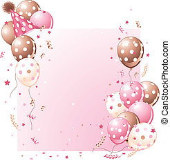 Pink birthday card with balloons, hat and plenty of copy space.