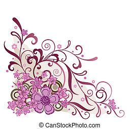 Pink floral corner design element vector illustration