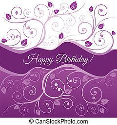 Pink happy Birthday card and swirls