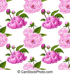 Pink peonies on green background. Abstract floral seamless pattern. Flowers, buds, leaves in realistic style.