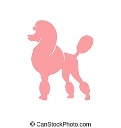 Silhouette image of poodle dog. vector illustration on a white background