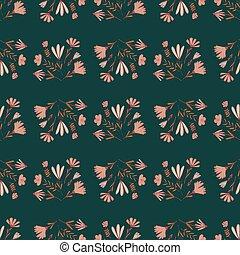 Pink wild flowers bouquet simple seamless pattern. Dark green background. Nature print.