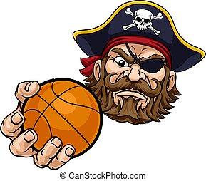 Pirate Basketball Ball Sports Mascot Cartoon