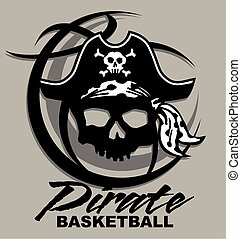 pirate basketball team design with pirate skull inside a basketball