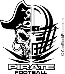 pirate football team design with mascot and facemask for school, college or league