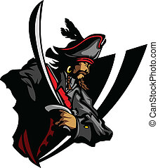 Pirate Captain holding a sword and wearing hat with feather Graphic Image
