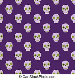 Pirate seamless pattern with hand drawn skull scary ornament. Purple bright background.