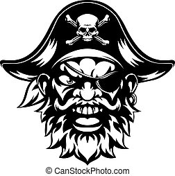 An illustration of a mean looking pirate sports mascot character