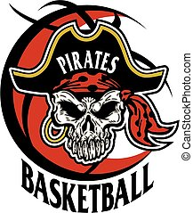 pirates basketball team design with pirate skull inside a basketball