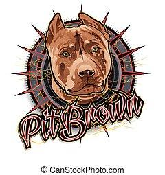 Pit brown dog art