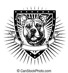 pit bull illustration on shield