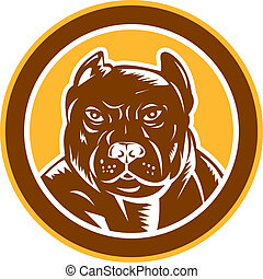Pitbull Dog Mongrel Head Circle Woodcut