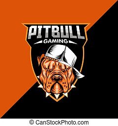 Pitbull mascot logo template. editable text, layer, and colors