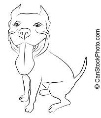 Pitbull Terrier simplified contour silhouette