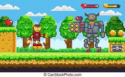 Pixel 8 Bit Game Robot and Cyborg Monster Vector