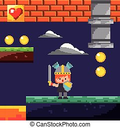 pixel game knight coins level night landscape