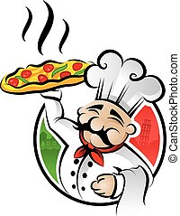 Illustration of an italian cartoon chef with a freshly baked pizza