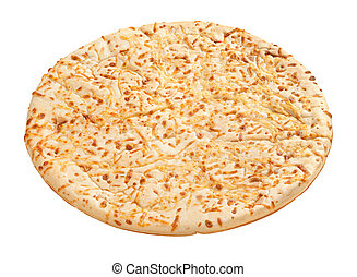 Pizza Crust with a clipping path isolated on white. Full focus front & back.
