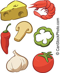 A vector set of pizza ingredients. Drawn in sketch style, this vector is very good for design that need food element in unique style. Available as a Vector in EPS8 format that can be scaled to any size without loss of quality. Elements could be separated for further editing, color could be easily ...