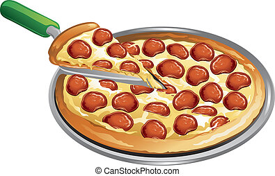Illustration of a pepperoni pizza with a slice taken out.