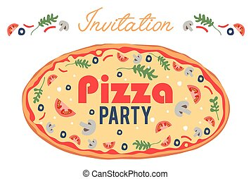 Pizza Party Invitation Poster Flyer Card. Dinner. Social Event. Invite. Italian. Bring Your Own Topping.