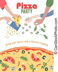 Pizza Party Invitation Poster Flyer. Dinner. Social Event. Invite. Italian. Bring Your Own Topping.