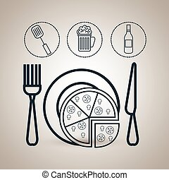 pizza plate fork icon