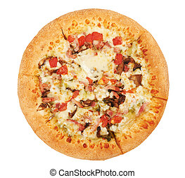 Pizza with cheese, ham and mushrooms isolated on white