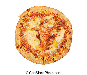 Pizza with cheese isolated on white background. Top view