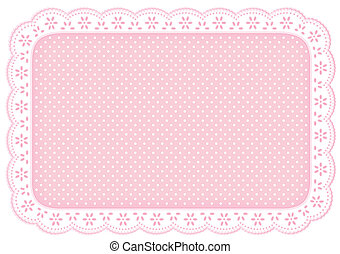 Eyelet lace doily place mat with polka dots in pastel pink for home decorating, setting table, arts, crafts, scrapbooks, backgrounds. EPS8 compatible.